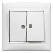 Выключатель двухклавишный  с подсветкой Valena 10 AX 250 В~ белый Legrand 774428