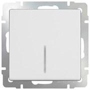 Выключатель одноклавишный проходной с подсветкой (белый) WL01-SW-1G-2W-LED/10
