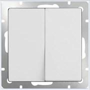 Выключатель двухклавишный проходной (белый) WL01-SW-2G-2W