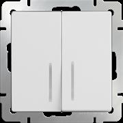 Выключатель  двухклавишный проходной с подсветкой(белый) WL01-SW-2G-2W-LI LED/10