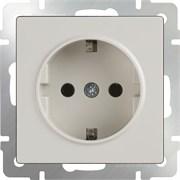 Розетка с заземлением и шторками (белая) WL01-SKGS-01-IP44 /10