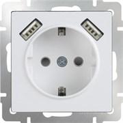 Розетка с заземлением, шторками и USBх2 (белая) WL01-SKGS-USBx2-IP20/10
