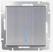 Выключатель одноклавишный проходной с подсветкой (глянцевый никель) / WL02-SW-1G-2W-LED
