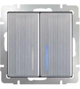 Выключатель двухклавишный с подсветкой (глянцевый никель) / WL02-SW-2G-LED