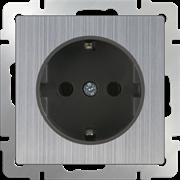 Розетка с заземлением (глянцевый никель) / WL02-SKG-01-IP20