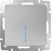 Выключатель одноклавишный  с подсветкой/WL06-SW-1G-LED (серебряный)