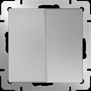 Выключатель двухклавишный (серебряный) WL06-SW-2G\10
