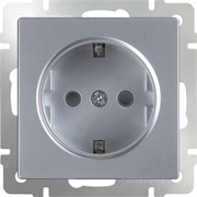 Розетка с заземлением и шторками /WL06-SKGS-01-IP44 (серебряный)