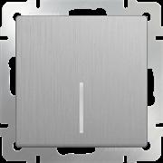 Выключатель одноклавишный проходной с подсветкой (серебряный рифленный) WL09-SW-1G-2W-LED/10