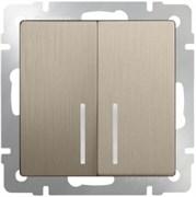 Выключатель двухклавишный проходной с подсветкой (шампань рифленный) WL10-SW-2G-2W-LED/10