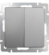 Выключатель двухклавишный проходной (серебряный рифленый) WL09-SW-2G-2W