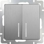Выключатель двухклавишный с подсветкой (серебряный рифленый) WL09-SW-2G-LED