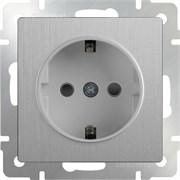 Розетка с заземлением (серебрянный рифленый) WL09-SKG-01-IP20/10