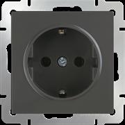 Розетка с заземлением и шторками  (серо-коричневый) WL07-SKGS-01-IP44/10