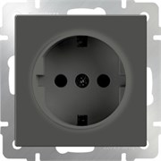 Розетка с заземлением  (серо-коричневый) WL07-SKG-01-IP20/10