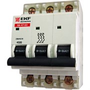 Автоматический выключатель ВА47-63 3р 63А хар-ка С