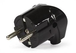 Вилка Smartbuy, угловая с заземлением черная 16А 250В SBE-16-P02-b