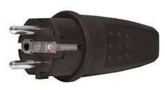 Вилка прямая каучук 2Р+РЕ 16А 250В IP44 (SBE-16-P07-R) (SBE-16-P07-R)