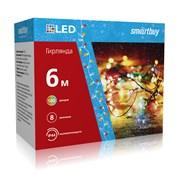 LED Гирлянда с контроллером, RGB, 6м, 100 диодов, IP44, прозрачный провод SB-RGBIP44-6m